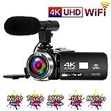 Videokamera 4K 24FPS Camcorder Full HD 30MP WiFi-Konnektivität Videokamera mit Mikrofon...