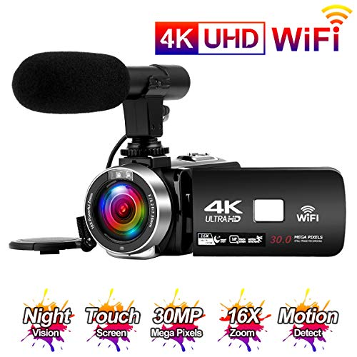 Videocamara 4K 24FPS Cámara de Video 30MP WiFi Videocamara Vlogging con...