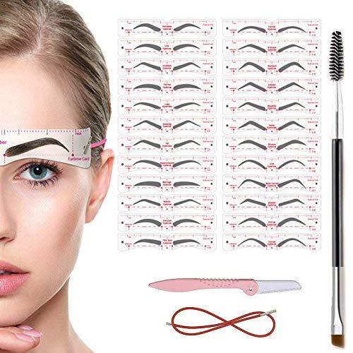 TEUVO Augenbrauen Schablone Set für Anfänger 3 Protokoll Make-up, 24 Stile von Schablonen, 1 Augenbrauen Bürste und 1 Rasierer Augenbrauen, DIY Augenbraue Schablone Set für Frauen