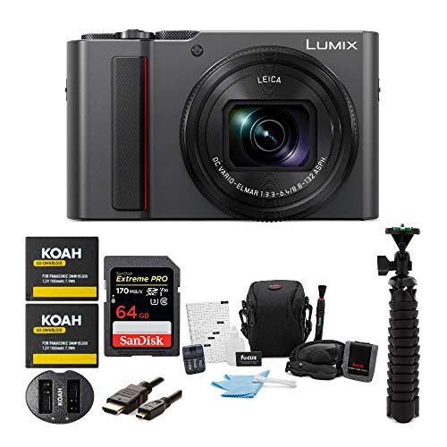 PANASONIC LUMIX ZS200 4K Camera 15X Leica DC Vario-Elmar Lens DC-ZS200K (USA Silver) Premium Bundle