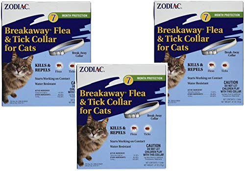 (3 Pack) Zodiac Breakaway Flea and Tick Collar for Cats, 13""