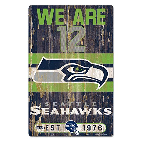 NFL Schild aus Holz Seattle Seahawks Holzschild Wood Slogan We Are 12