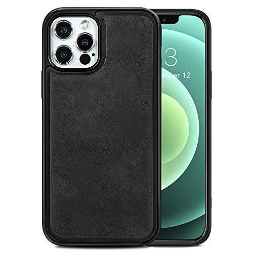TANYO Étui en Cuir avec MagSafe pour iPhone 12 Pro Max (6.7 Pouces), Housse en Prime TPU/PU avec Fonction Magnétique MagSafe, Coque de Téléphone Antichoc en Silicone TPU - Noir