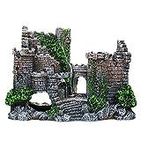Castillo abandonado retro con estatua de algas marinas, decoración de acuario, material de resina de castillo grande, suministros de pecera, adorno para el hogar, oficina, tanque de peces, accesorios