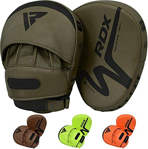 RDX Boxing Pads Focus Mitts, Convex Skin Leather Curved Hook and Jab Target Hand Pads, Great for MMA, Martial Arts, Muay Thai, Kickboxing and Karate Training, Padded Punching, Coaching Strike Shield