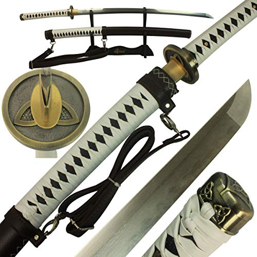 DTYES Full Handmade Japanese Samurai Katana Sword (The Walking Dead Michonne's Katana Sword-Damascus Steel Clay Tempered)