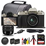 FUJIFILM X-T200 Mirrorless Digital Camera with 15-45mm Lens (Champagne Gold) (16646105) + SanDisk 64GB Extreme PRO Card + Deluxe Case + NP-W126 Battery + Hand Strap + 12 Inch Flexible Tripod + More