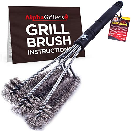 "Alpha Grillers 18"" Grill Brush. Best BBQ Cleaner. Safe for All Grills. Durable & Effective. Stainless Steel Wire Bristles and Stiff Handle. A for Barbecue Lovers."