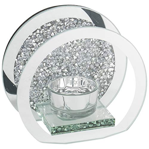 Round Crushed Diamond Tea Light Candle Holder Crystal Sparkle Bling Silver Mirror Glass Candle Holder With Walls