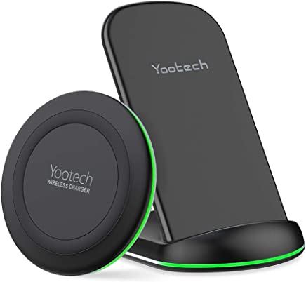Yootech Wireless Charging Bundle, [2 Pack] 10W Qi-Certified Wireless Charging Pad Stand,7.5W Compatible with iPhone Xs MAX/XR/XS/X/8Plus,10W Fast Charging Galaxy S10/S10Plus/S10E/S9(No AC Adapter)