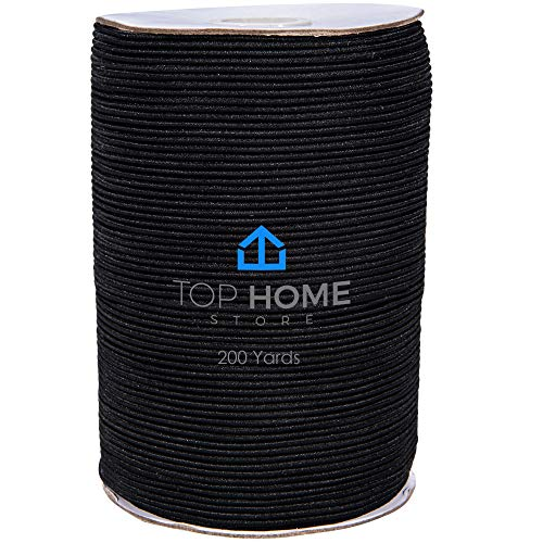 Top Home Store Elastic Thread 2mm - 200 Yards Elastic String Roll for Sewing, Jewelry, Bracelet Making - Stretchy Polyester and Latex Bead String - Easy to Cut Beading Cord for Craft Projects – Black