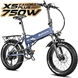 Eahora X5 Plus 750W Fat Tire Folding Electric Bicycle 48V Electric Bikes for Adults Hydraulic Brakes , Full Suspension, Removable Lithium Battery, E-PAS Recharge System, 8-Speed Gears