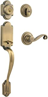 Kwikset Arlington Single Cylinder Handleset w/Lido Lever featuring SmartKey in Antique Brass
