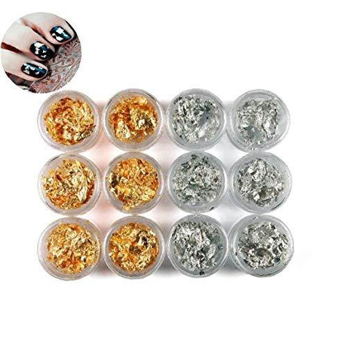 ZYCX123 12 Pot/Set de uñas Arte de Paillette de Plata Accesorios Hoja de Oro de la viruta espumoso de la escama del Brillo de la Etiqueta DIY de acrílico Ultravioleta del Gel de decoración Regalos