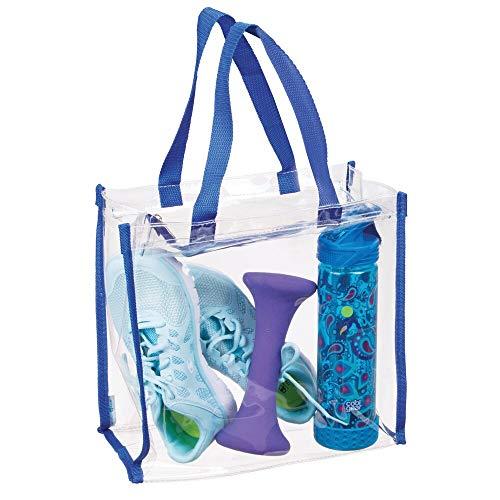 mDesign Bolsa de deporte para equipación deportiva, ropa, accesorios – Bolso transparente/Detalles en azul – Bolsa impermeable para colgar al hombro