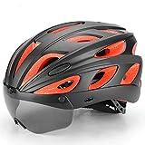 Stella Fella Casque Casque de vélo Casque de vélo de Route de Montagne avec Lunettes de Protection polarisées for Hommes et Femmes (Color : Black)