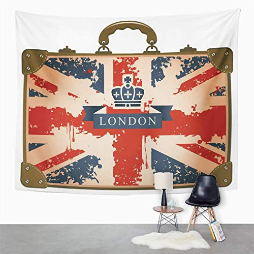 Y·JIANG Union Jack Tapestry, Vintage Travel Suitcase with British Flag London Ribbon and Crown Image Home Dorm Decorative Tapestries, Wide Wall Hanging Blanket for Living Room Bedroom, 60 x 50 inches