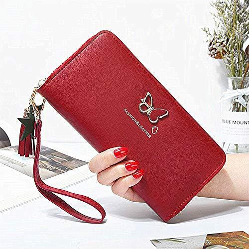 女性の財布、長いマネーバッグ、レディースハンドバッグ、財布、カードホルダー (Color : Red)
