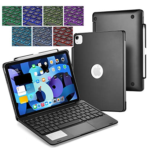 UIQELYS iPad Keyboard Case for 2020 iPad Air 10.9 (4rd Gen), A2072/A2316/A2324/A2325, Backlit Keyboard with Touchpad, Wireless Bluetooth Case for 10.9 inch Tablet (Black)