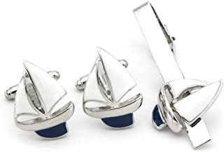 Sailing Boat Yacht Sailboat Smart Shirt Tie Clip and Cufflinks Set