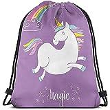 jenny-shop Mochilas con cordón Impresas Mochilas, Animal mítico con Nubes y Figura de Arco Iris Hada Cute Unicorn Image Print