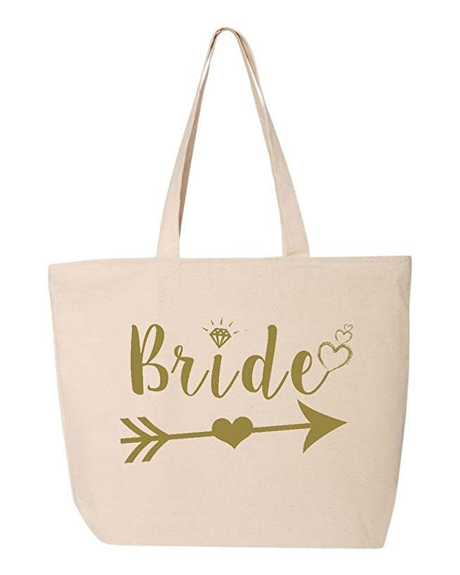 Shop4Ever Bride Heart Arrow Gold Heavy Canvas Tote with Zipper Wedding Reusable Shopping Bag 12 oz Natural 1 Pack Zip
