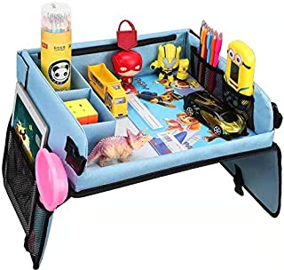 ARTOYS Car Seat Travel Trays, Kids Snack & Play Travel Tray, Baby Play Tray Storage & Organizer - Car Table Seats Bags Organized Fun Drawing Safety Activity Tray for Stroller, Car, Bus, Train, Plane