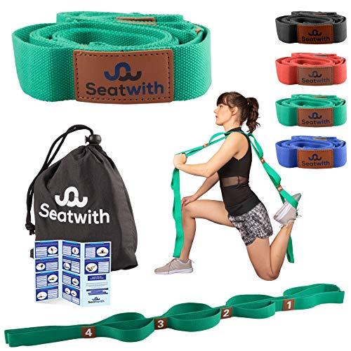 Seatwith Gymnastik-Gurt mit 10 Schlaufen | Yoga-Gurt 200 x 4 cm | Stretch-Strap für mehr Beweglichkeit | + Transportbeutel & Trainingsanleitung PDF|...