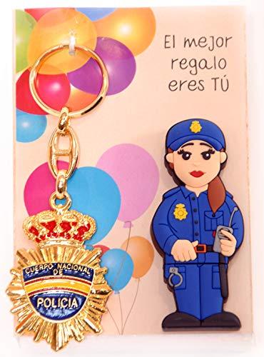 POLICIA Nacional ESPAÑOLA Femenina USB de 16gb. de Memoria con Llavero metálico Doble Cara Placa de policia