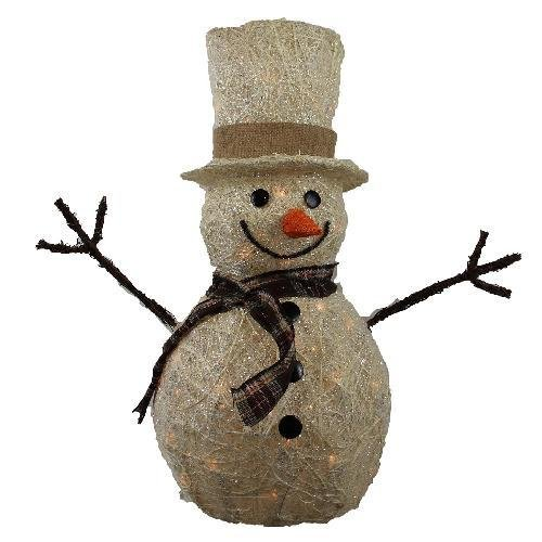 Lighted White Rattan Sisal Snowman with Scarf Christmas Decoration - Indoor/Outdoor Angel Holiday Decoration