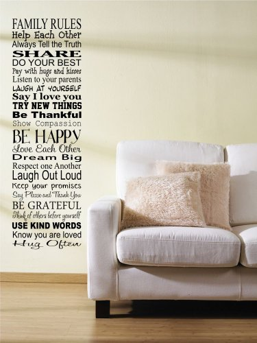 Family Rules. Help Each Other Always Tell The Truth.Vinyl Wall Decals Quotes Sayings Words Art Decor Lettering Vinyl Wall Art Inspirational Uplifting