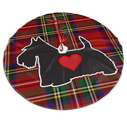 Hkdfjg Red Plaid Scottish Terrier Scotty Dog Christmas Tree Skirt Tree Mat Xmas Holiday and Winter New Year House Decoration,Home Party Trees Dress Ornaments Holiday Party Mat Indoor Outdoor