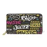 Jazz Rock Musique Guitare Portefeuille pour Femme en Cuir Pochette Zipper Porte Monnaie Titulaire de la Carte de Crédit pour Téléphone Fille Garçon