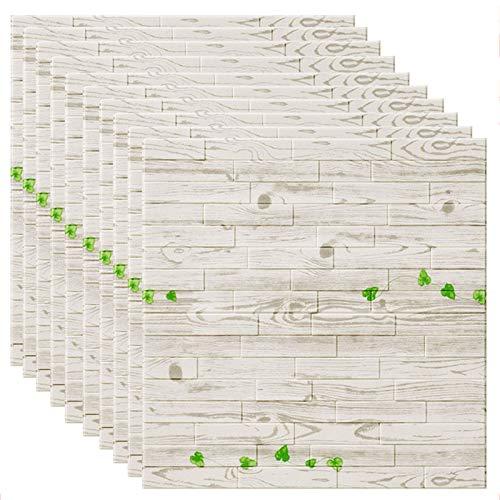 GL-GDD Paquete de 10 Paneles de Pared 3D para pelar y Pegar Azulejos contra Salpicaduras Autoadhesivo Papel Tapiz de Espuma PE Fondo Impermeable Decoración de Pared se Puede empalmar Bricolaje,10