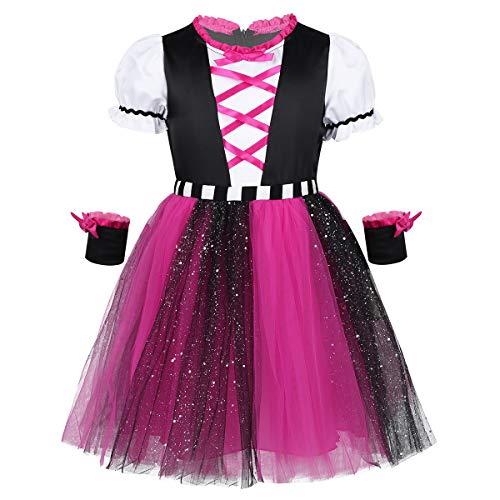 iEFiEL 2-teiliges Piratenkostüm für Mädchen - Piratinkostüm Baby Kinder Seeräuber Kleid Kostüm für Halloween Karneval Cosplay mit Armband Schwarz/Rose 86-92