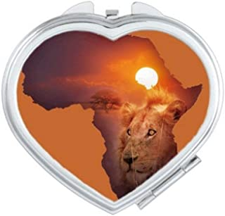 DIYthinker Lion Prairie African Continent Name Map Heart Compact Makeup Mirror Portable Cute Hand Pocket Mirrors Gift Mult...