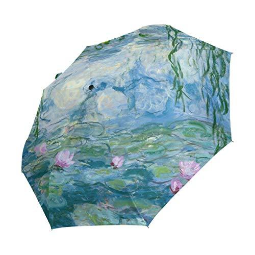 Emoya Regenschirm Winddicht Monet Seerosen Weide Floral Frühling Reise Faltschirm Automatisches Öffnen Schließen Kompakt