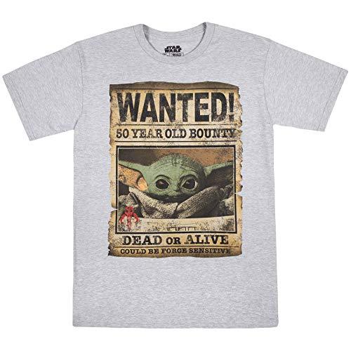 STAR WARS Baby Yoda Niño Mandalorian Wanted Poster T-Shirt, Gris Heather, X-Large