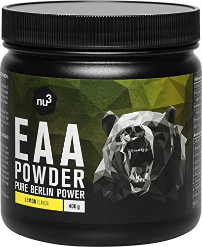 nu3 EAA Powder - All 3 BCAA's Plus 5 More Essential Amino acids - to Increase Strength & Energy During The Workout - with Leucine, Isoleucine & Valine - Fast Muscle Absorption - 400 g Lemon Flavour