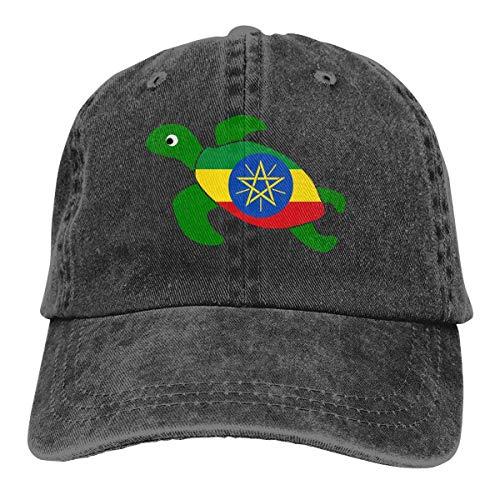 hdyefe Männer Frauen verstellbare garngefärbte Denim-Baseballmütze Meeresschildkröte Äthiopien Flagge Trucker Cap