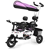 HONEY JOY Kids Tricycle, Twins Baby Trike w/Removable Canopy &Guardrail, Adjustable Parent Push Handle, Double Brake Rear Wheels, Retractable Foot Pedal,Foldable Steer Stroller Bike for Girl Boy(Pink)