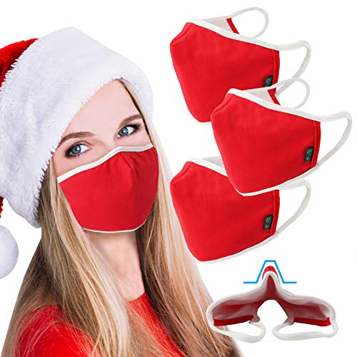3 Pack Christmas Face Mask Cloth Triple Layer Shield Reusable Washable Santa Costume Nose Bridge EU0309 Red