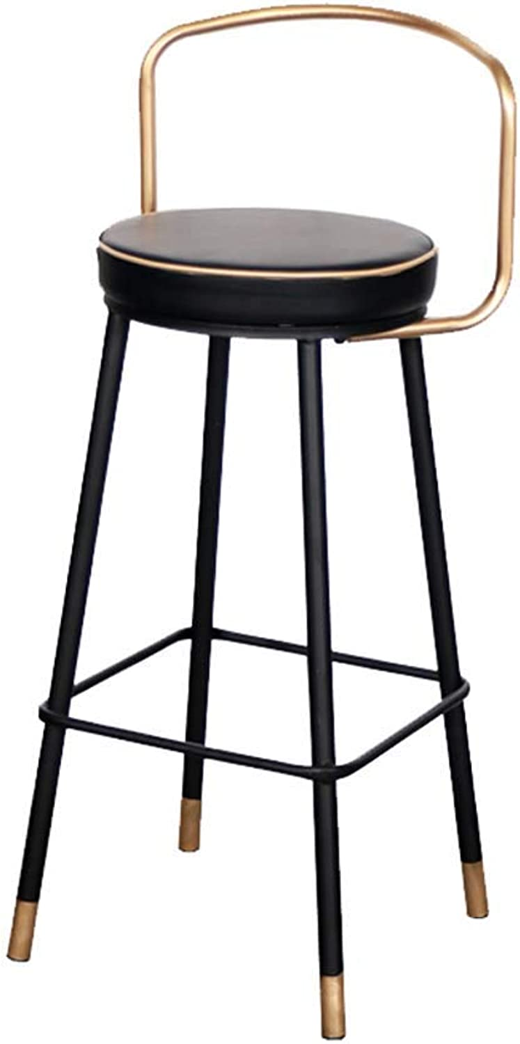 LLYU Bar Stool high Stool Leisure Metal Frame Back Breakfast Kitchen Counter Cafe Office Home Stool