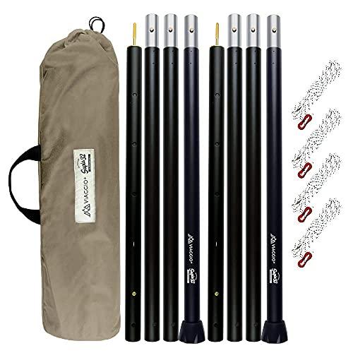 Viaggio+ タープポール テントポール 2本セット 収納ケース ロープ付 120-280cm Φ32mm アウトドア キャンプ...