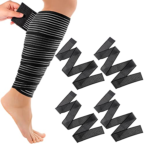 Calf Compression Bandage Adjustable Elastic Knee Brace Bandage Wrap Elastic Thigh Brace Compression Long Wrap Brace Support for Legs, Stabilising Ligament, Joint Pain, Sport, Black (4 Pieces,180 cm)