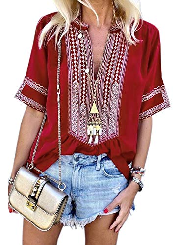 Chase Secret Womens Casual Ethnic Style Bohemian Striped V Neckline Boho Floral Print Blouse Shirt Medium Red