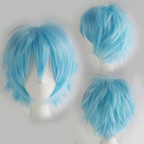 Perruque Cheveux Courts Homme Femme Cosplay Déguisement Costume - Bleu clair