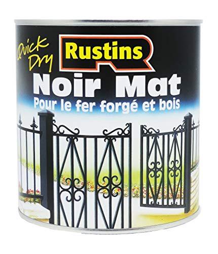 Rustins BLAM500FR - Peinture mat pour bois et métal - extérieur et dintérieur - Séchage rapide - Noir - 14m²/L - 500ml