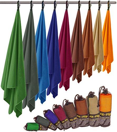 Fit-Flip Microfaser Handtuch – federleicht, Ultra saugstark und schnelltrocknend – (1x 200x100cm + 1x Tasche, Weinrot)