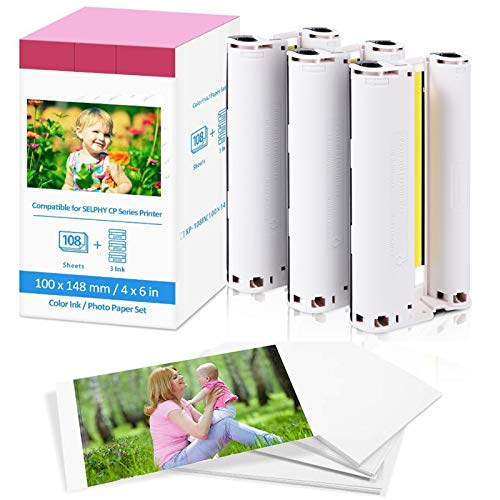 Fimax Compatible KP-108IN Papel Fotográfico 100 x 148mm (4 x 6 Inch)...